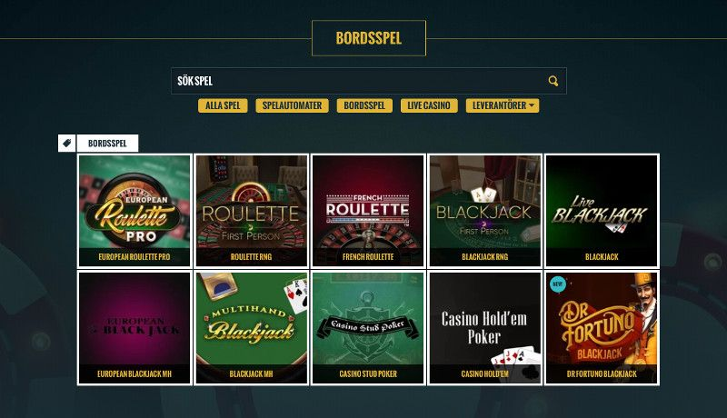 Bordsspel hos No Account Casino