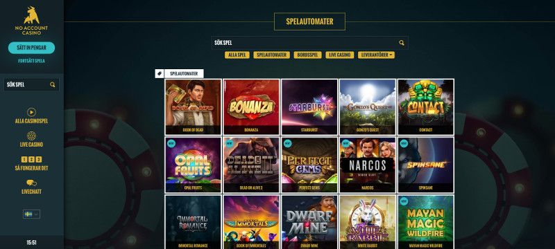 Slots hos No Account Casino