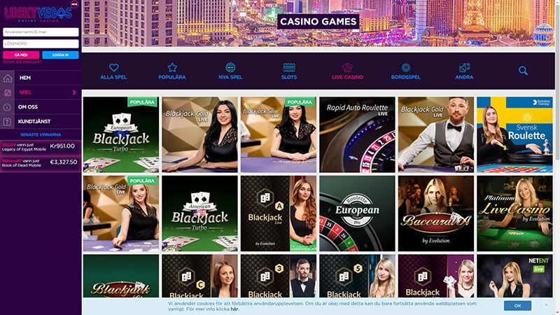 lucky vegas live casino screenshot