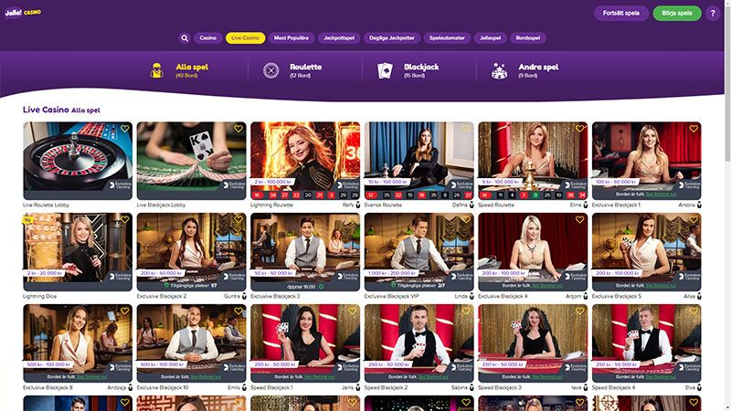 jallacasino live casino screenshot